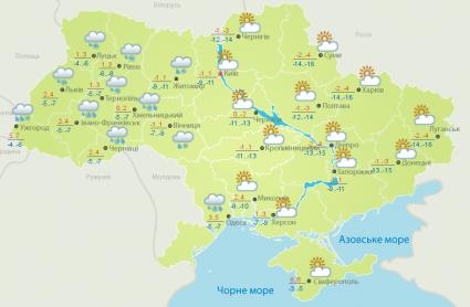 Прогноз погоди на вівторок, 6 березня