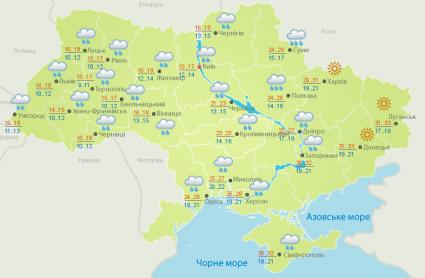 Прогноз погоди на суботу, 23 червня