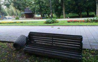У Луцьку неадекватні молодики наробили безладу у центральному парку (фото)