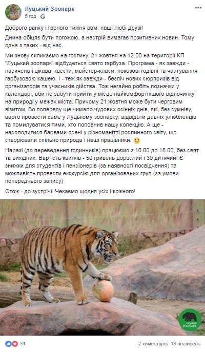 КП Луцький зоопарк у соцмережах про свято гарбуза