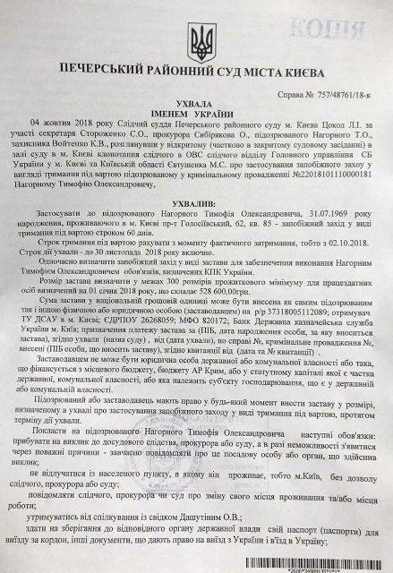 Документ про затримання Тимофія Нагорного