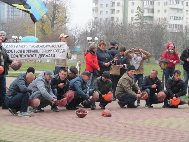 Мітинг гірників шахти № 10 Нововолинська у Луцьку фото 29