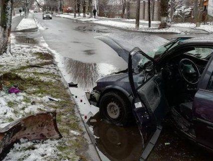 У Луцьку автомобіль втаранився в дерево (фото)