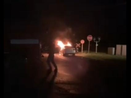 Під Луцьком при пожежі в авто загинув собака, замкнутий в салоні (відео)
