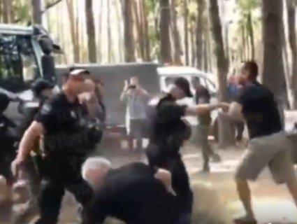 Кияни зчинили масову бійку з копами за альтанки біля озера (відео)
