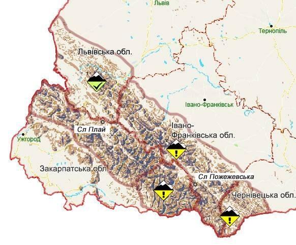 Розмітка мапи: зелений – низький рівень небезпеки, жовтий – помірний рівень небезпеки / мапа ДСНС