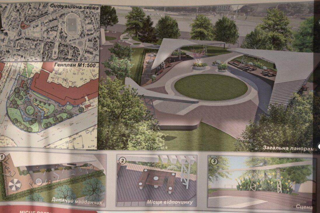 Як виглядатиме сквер біля «Променя» в Луцьку (проект)