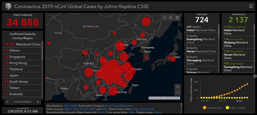 Карта поширення вірусу