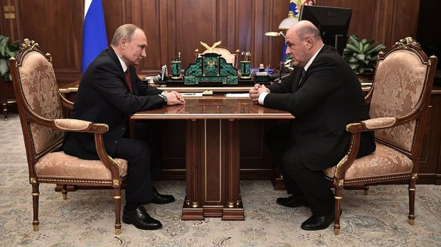 Путін та Мішустін на зустрічі щодо посади прем'єра РФ/ Фото: пресслужба Кремля