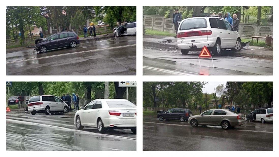 «Мокра» аварія в Луцьку: мінівен знесло з дороги