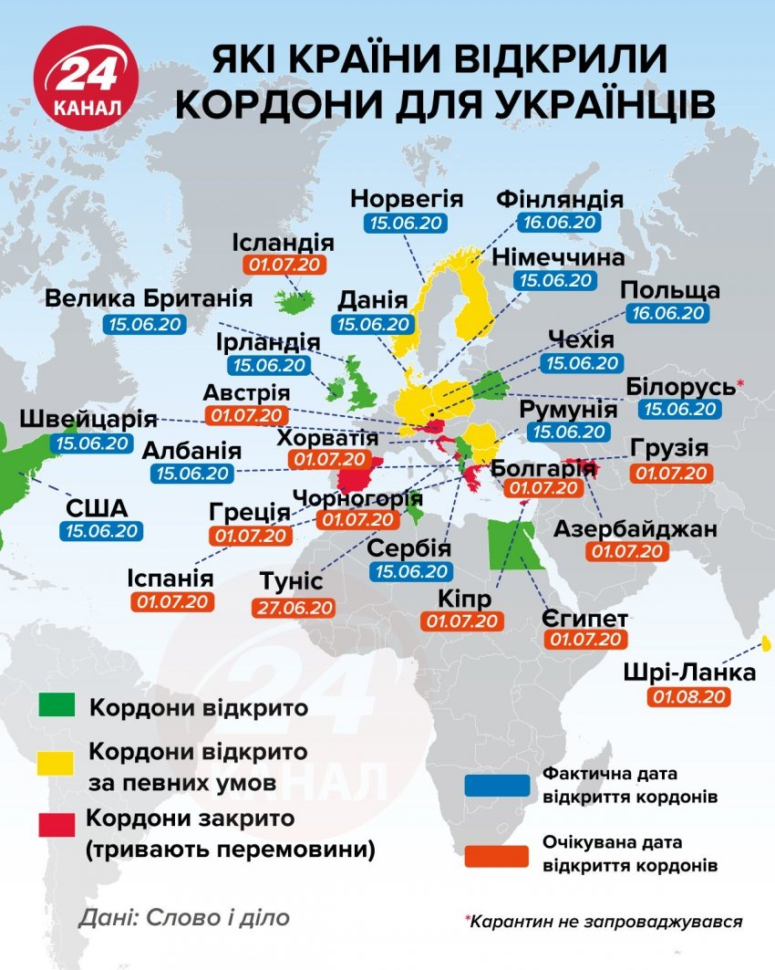 Куди можуть поїхати українці вже у липні / Інфографіка 24 каналу