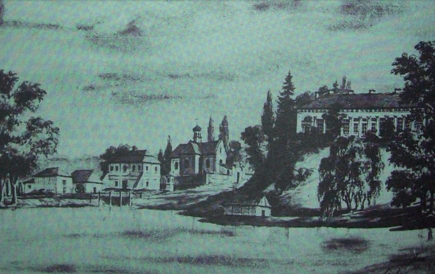 Вид на палац в с. Селець зі сторони парку, ХІХ ст. Автор Наполеон Орда.